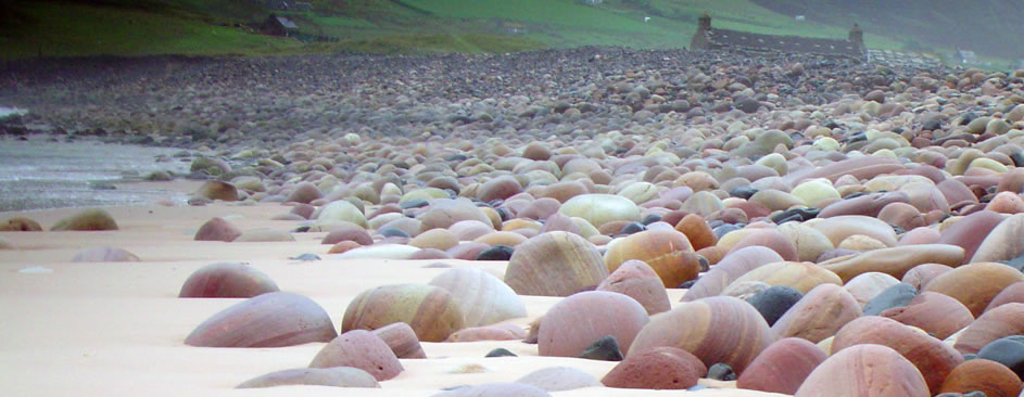 Sea-smoothed pebbles on Rackwick beach